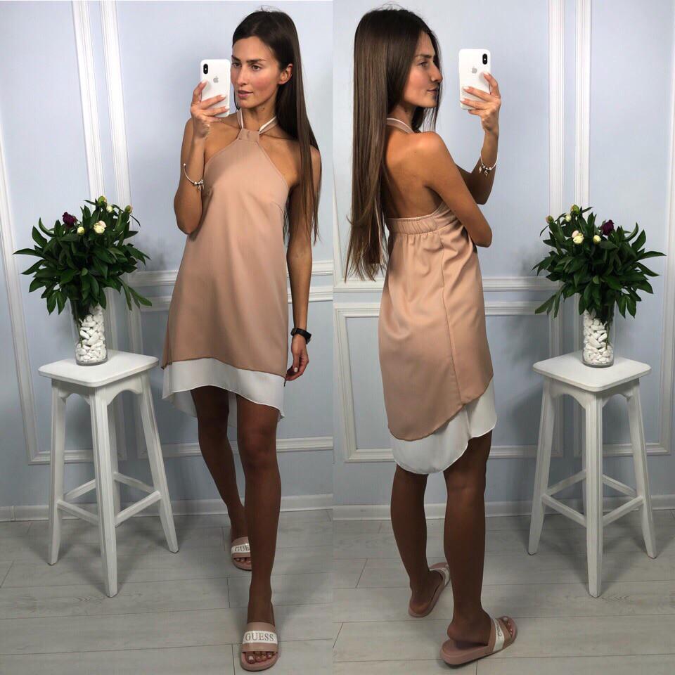 11d183c71a899e6 Платье летнее шифоновое двойное с асимметричным низом и открытой спиной  Smld2479 - Shoppingood в Харькове