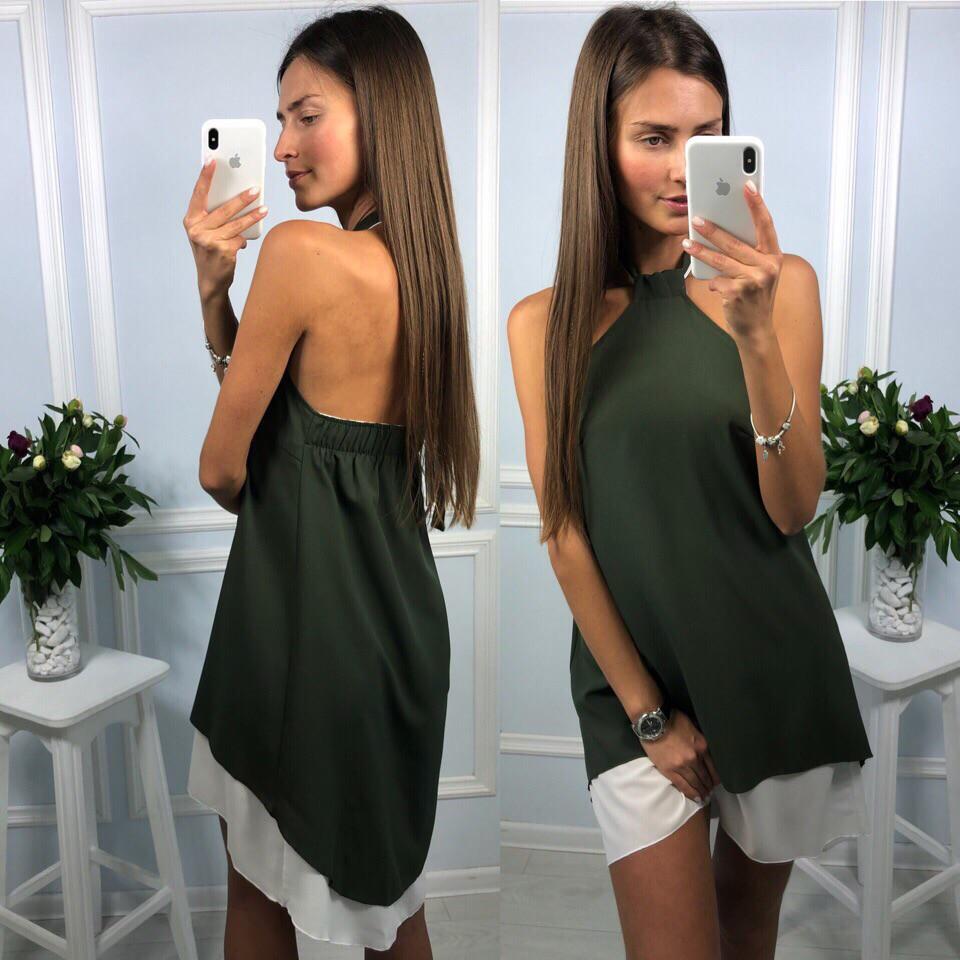 23825244ea04288 Платье летнее шифоновое двойное с асимметричным низом и открытой спиной  Smld2479, цена 390 грн., купить в Харькове — Prom.ua (ID#249491980)