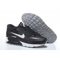 Зимние черные кроссовки Nike Air Max 90 c мехом - AM001