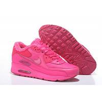 Розовые зимние женские кроссовки Nike Air Max 90 c мехом - AM016