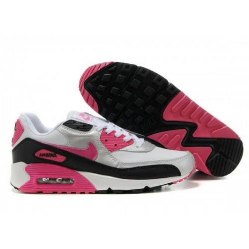 51a133284086 Женские бело-серебристые кроссовки Nike Air Max 90 - ND029  продажа ...