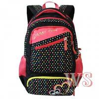 Рюкзак для девушки чёрный с сердечками