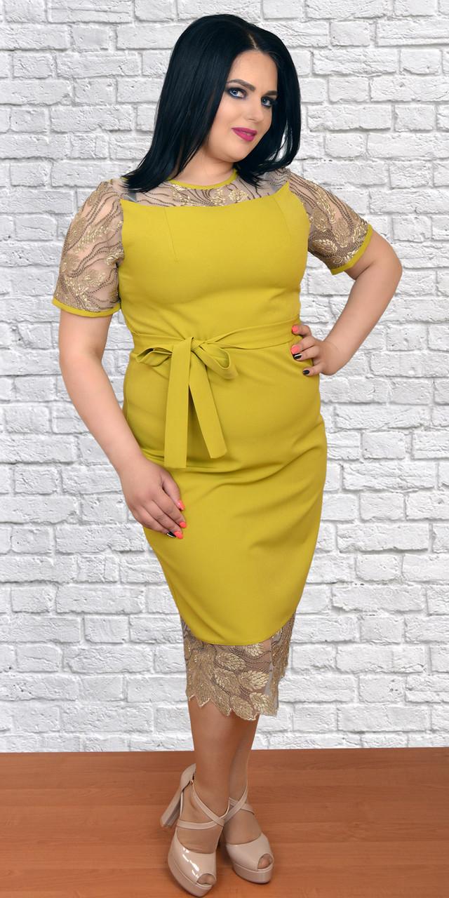 b009ac41fea059d Модное комбинированное женское платье, больших размеров, ткань креп+гипюр  сетка, 56 -