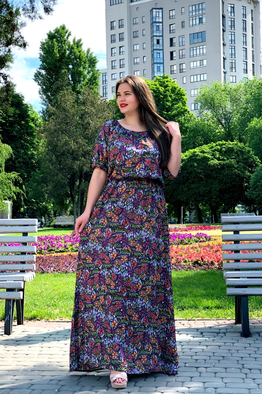 Длинное летнее платье больших размеров Стефи