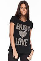 Черная женская футболка De Facto / Де Факто с надписью на груди Enjoy love