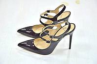 Женские черные туфли лодочки на каблуке