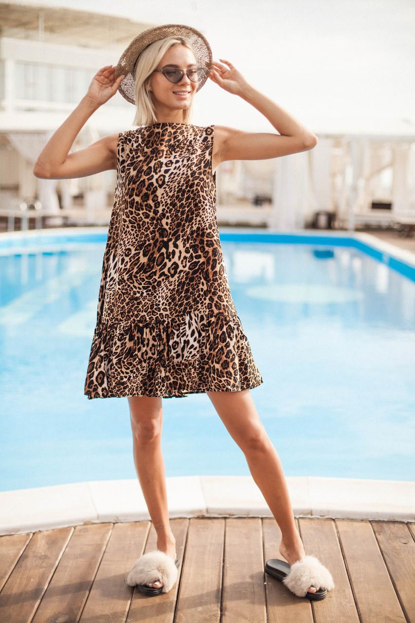 074b1242ca3 Летнее леопардовое платье с повязкой на голову -