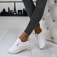 Женские кроссовки белые с розовым 651