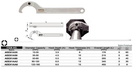 Ключ шарнирный для круглых шлицевых гаек 50-80мм TOPTUL AEEX1A80, фото 2