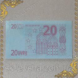 Съедобные деньги 20 Евро, сахарная бумага голубого цвета 14*8 см.