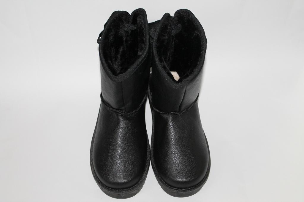 Женские черные угги с бантиком