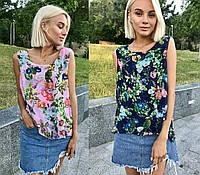 Летняя шифоновая блузка без рукавов