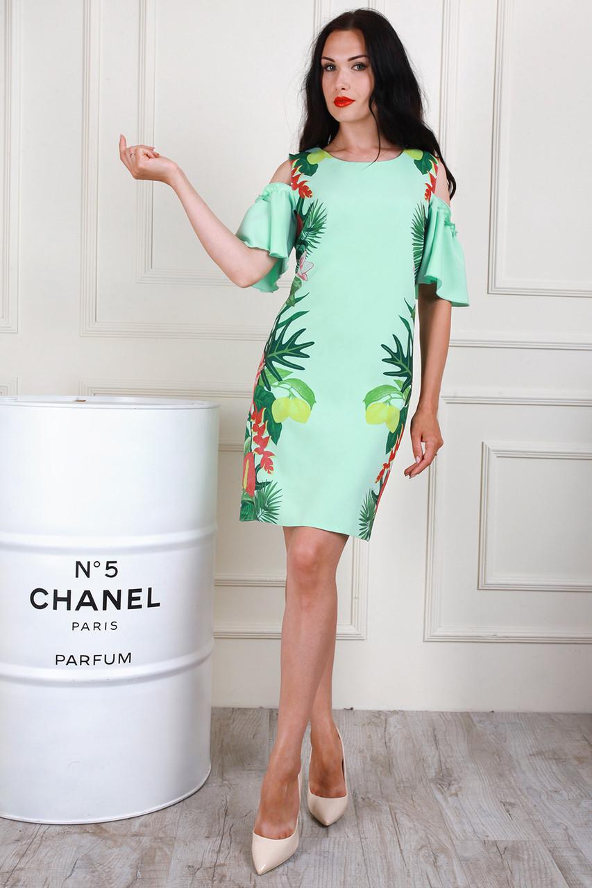 Молодежное платье с оригинальными рукавами, 48,50,52