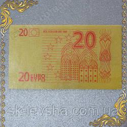 Съедобные деньги 20 Евро, сахарная бумага оранжевого цвета 14*8 см.