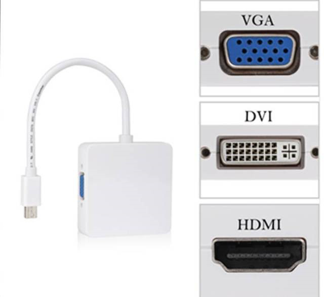 3в1 переходник с Mini Displayport на HDMI, DVI, DP