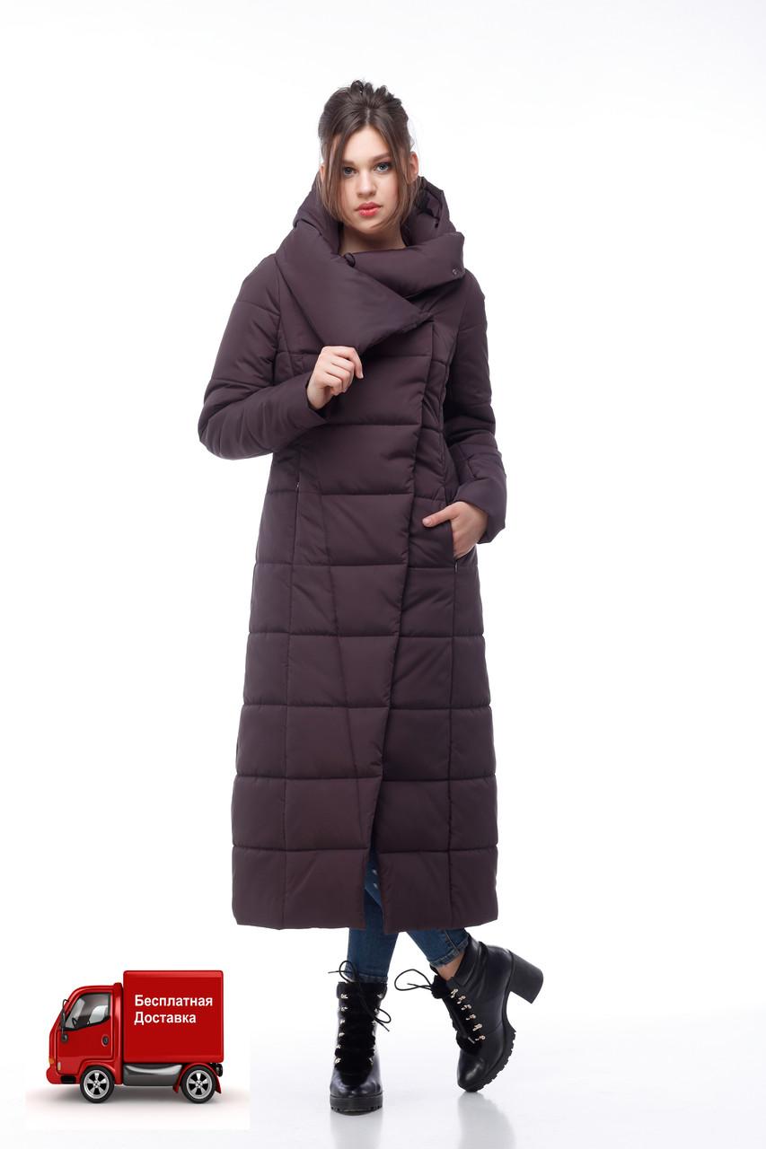 Пуховик женский коричневый зимняя длинная куртка зима 2020, размеры 42-54