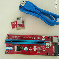 Райзер Riser Card PCI-E 1X to 16X v.007S, USB3.0 кабель