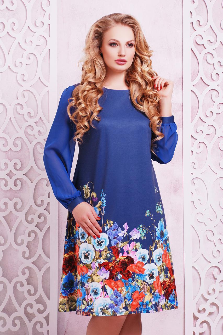 Платье синее в цветочек с длинным рукавом большой размер 48