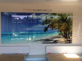 Стеклянное панно в бассейн - морской пляж в Днепре 2