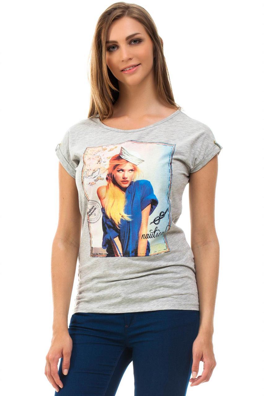 Серая женская футболка De Facto / Де Факто с рисунком-девочкой на груди