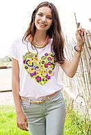 Белая женская футболка De Facto / Де Факто с рисунком-сердце на груди