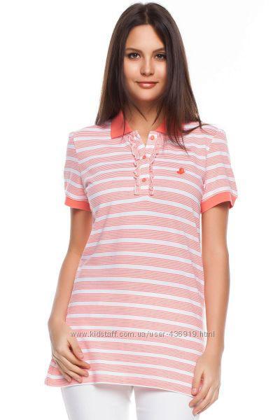 Белая женская футболка De Facto / Де Факто в красные полоски с пуговицами на груди