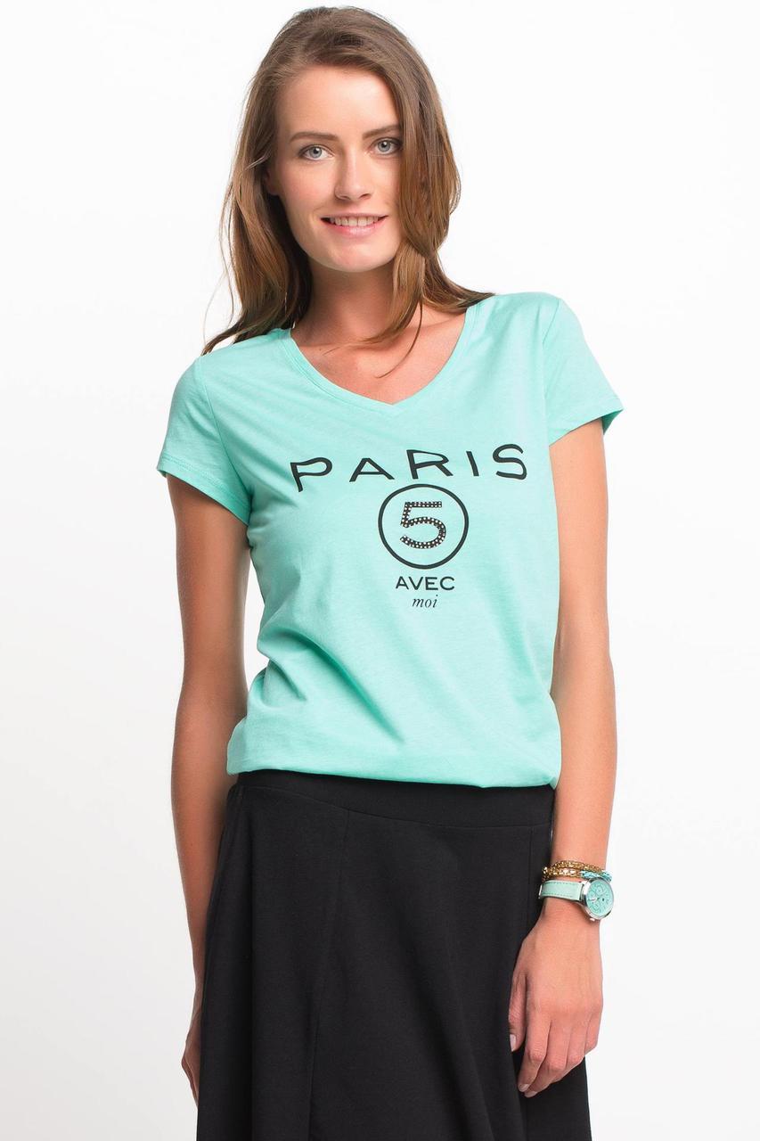 Голубая женская футболка De Facto / Де Факто с надписью на груди Paris