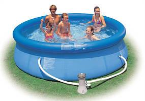 Надувной-наливной круглый бассейн+Фильтрующий насос Intex Easy Set 28112