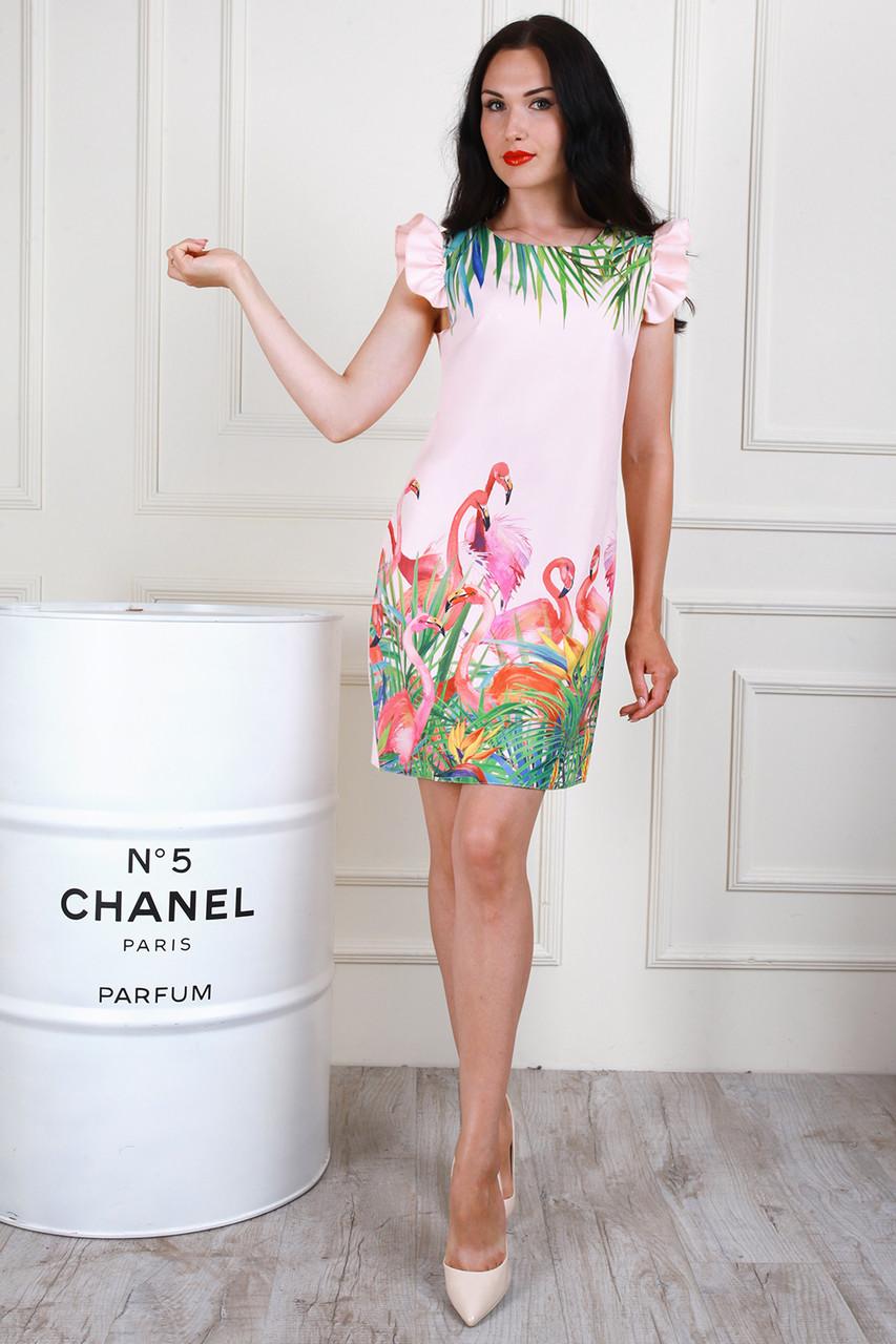Молодежное платье с ярким принтом, 44,46,48