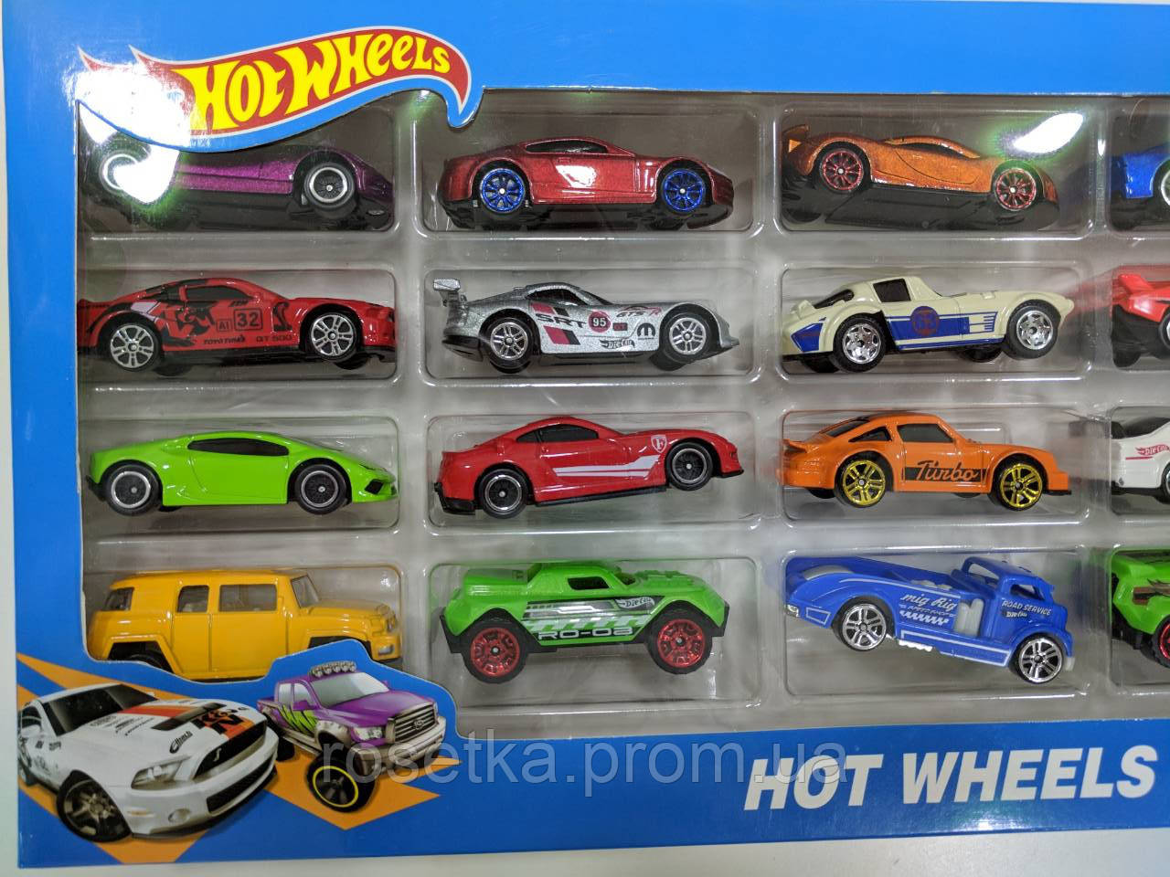 Великий набір металевих машинок серії Хот Вілс (Hot Wheels), 20 шт., подарунковий набір в коробці