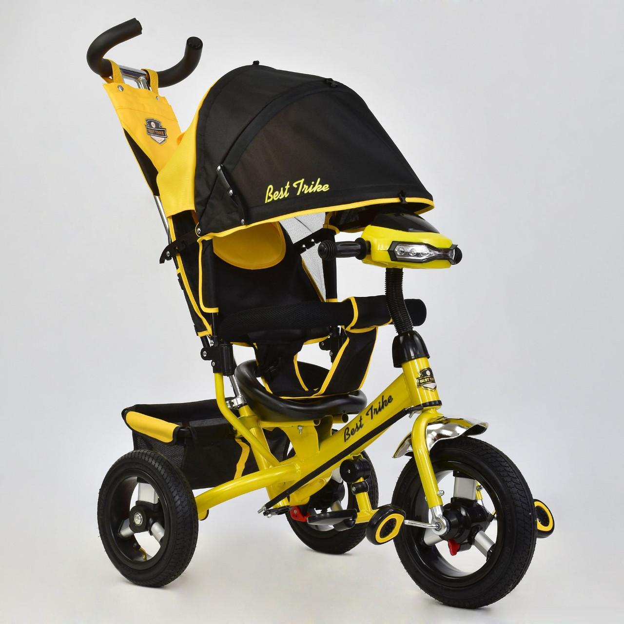Велосипед трехколесный с фарой Best Trike 6588B-2810 желтый (надувные колеса)