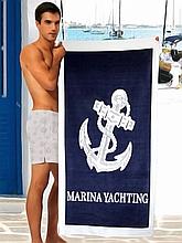 Полотенце на море синее MARINA YACHTING Якорь ANCHOR 150*75 см банное Турция