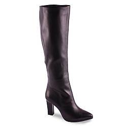Ботфорты из натуральной кожи (зимние, на замке, на каблуке, стильные, удобные, черные, теплые)