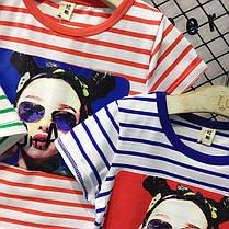Детская полосатая футболка с рисунком, фото 3