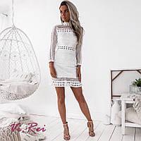 Облегающее легкое кружевное платье с длинным рукавом tez68031643