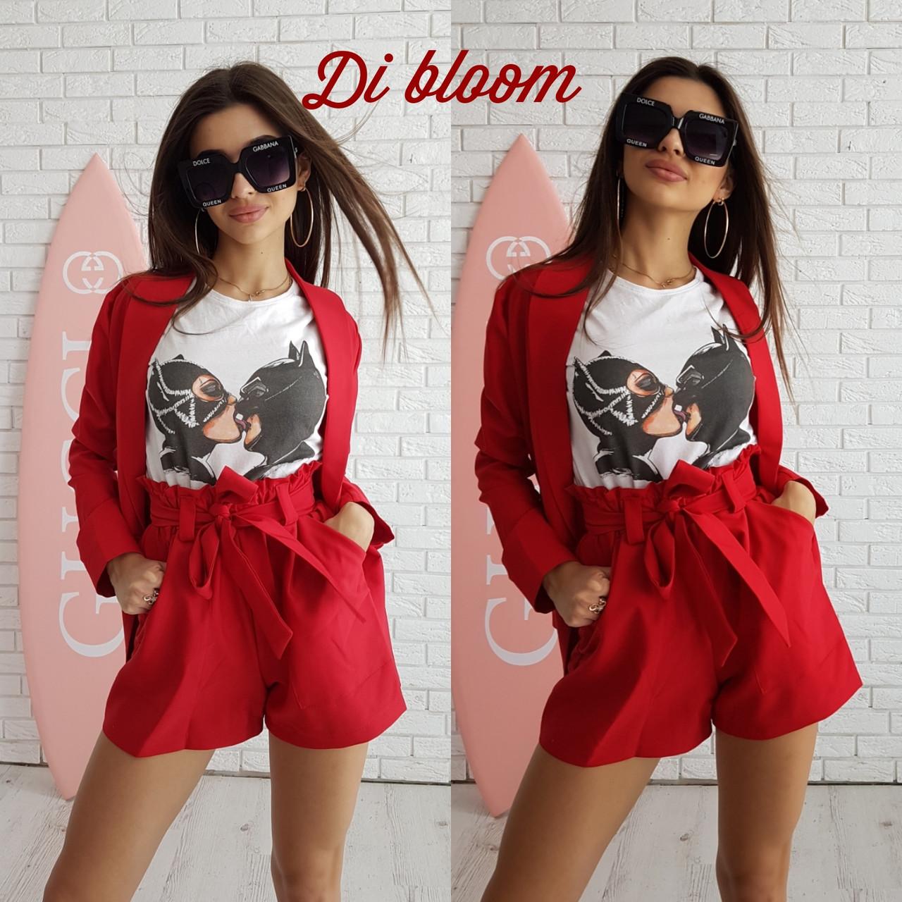 0fc2adab7fa Женский летний костюм с высокими шортами и кардиганом в расцветках  tez5010653 - «Anna Tézor»