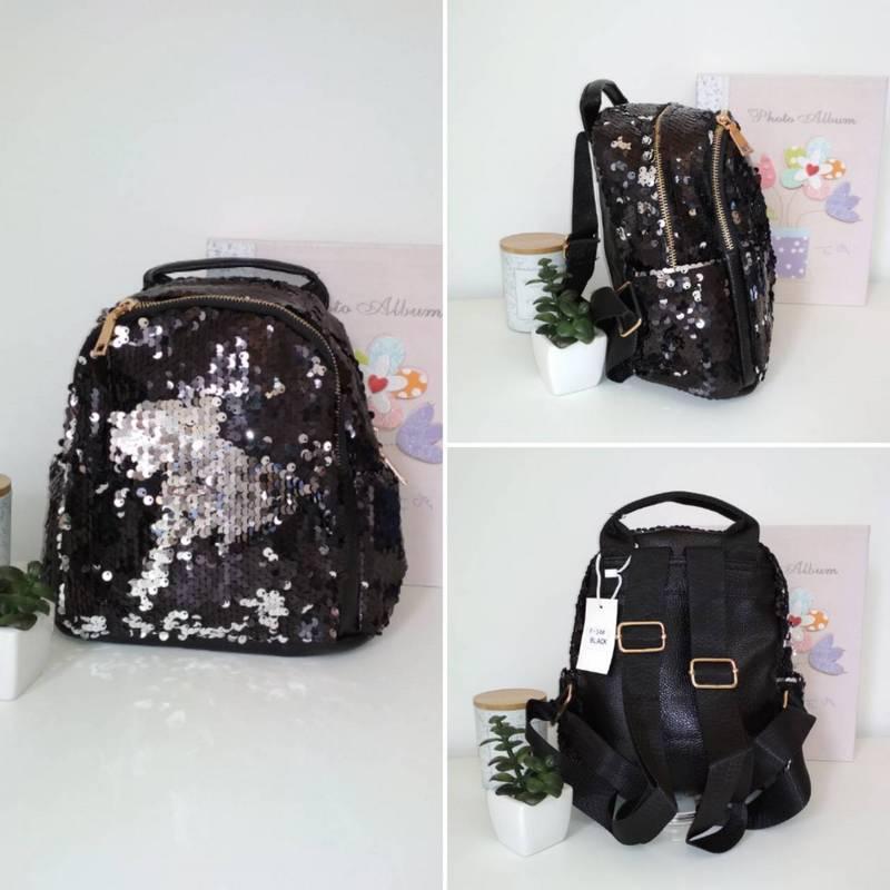 Черный рюкзак с пайетками-перевертышами для девочки 24*23*13 см
