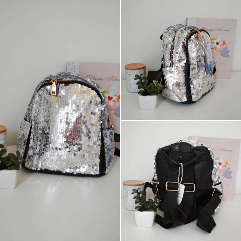 Серебрянный рюкзак с пайетками для девочки 24*23*13 см