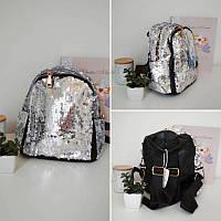 Серебрянный рюкзак с пайетками для девочки 24*23*13 см, фото 1