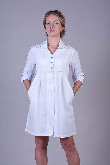 Медицинский халат для беременных на пуговицах батист 40-50р. Хелслайф
