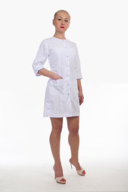 Медицинский женский халат на кнопках батист 40-60р. Хелслайф
