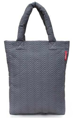 Дутая вертикальная женскя стеганая сумка Poolparty Арт.ns3-darkgrey-fir серая
