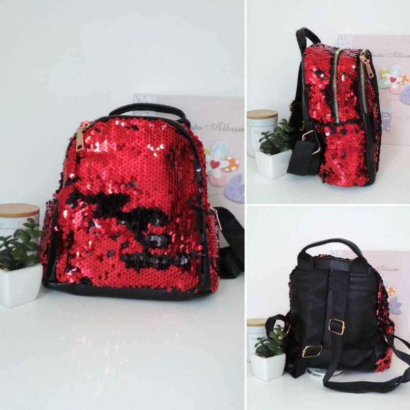 Мини-рюкзак с пайетками для девочки красного цвета 24*23*13 см