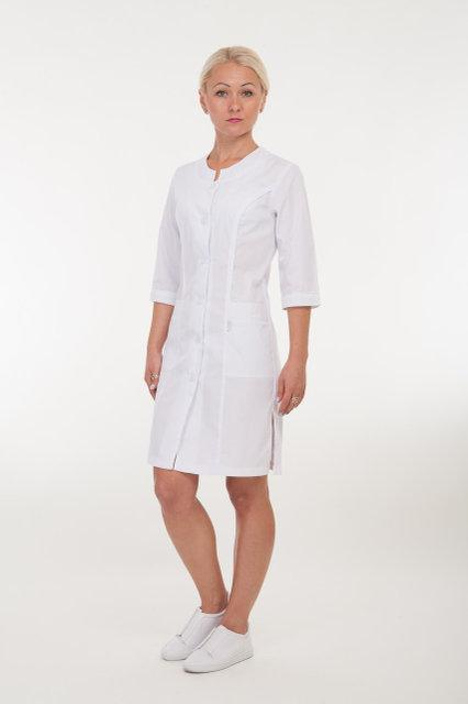 Медицинский женский халат белый с вставками батист 40-66р. Хелслайф