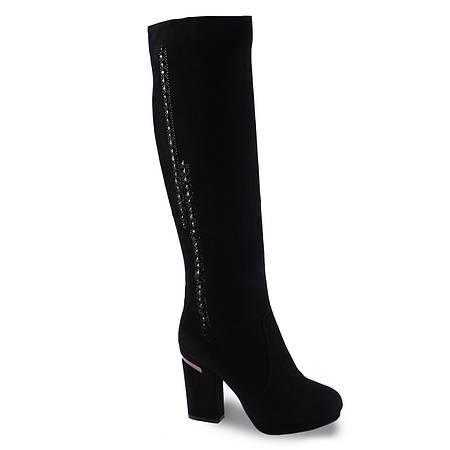 Замшевые сапоги Brocoly (зимние, удобный каблук, вставка со страз, черные, теплые)