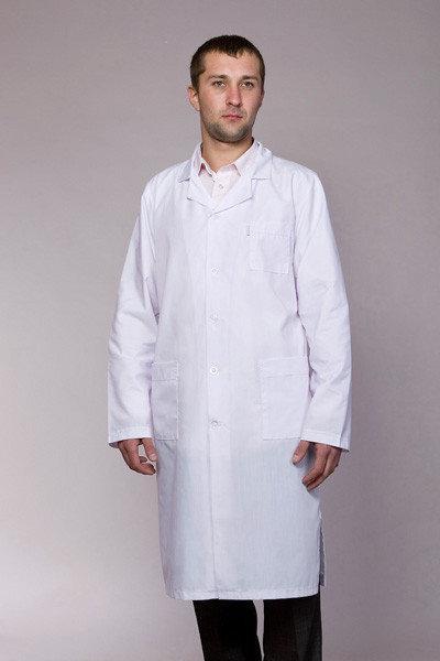Медицинский мужской халат белый катон 48-58р. Хелслайф