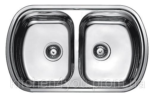 Прямокутна кухонна мийка 2 чаші Fabiano 80х49х2 подвійна нержавіюча сталь, микродекор