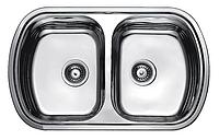 Прямоугольная кухонная мойка 2 чаши Fabiano 80х49х2 двойная нержавеющая сталь, микродекор, фото 1