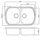 Прямокутна кухонна мийка 2 чаші Fabiano 80х49х2 подвійна нержавіюча сталь, микродекор, фото 5