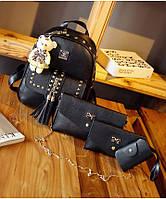 Комплект 4-в-1 Рюкзак сумка клатч визитница с декор-заклёпками черный серый молоко